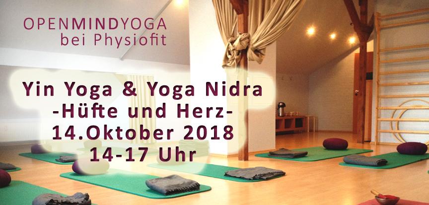 "OPENMINDYOGA Workshop ""Yin Yoga und Yoga Nidra"", Hüfte und Herz, 14. Oktober 2018, Kerstin HilgersPhysiofit Sülfeld"