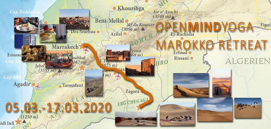 Tourdaten, OPENMINDYOGA MAROKKO RETREAT vom 5.3.-17.3.2020 mit der Caravane de Reve